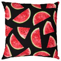 Watermelon Outdoor-Indoor Throw Pillow on Black Background