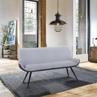 Modern Industrial Pewter Upholstered Dining Bench - Coronado