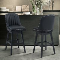 Black 26 Inch Upholstered Swivel Counter Height Stool - Journey