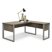 Gray Home Office Desk and Return - Kalmar Collection