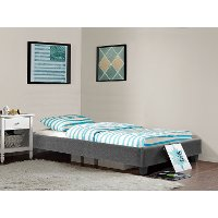 Modern Gray Twin Upholstered Platform Bed - Nelson