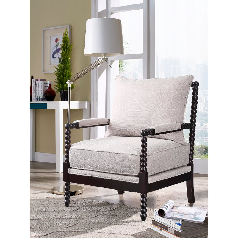 Casual Traditional Beige Accent Chair - Lawrence