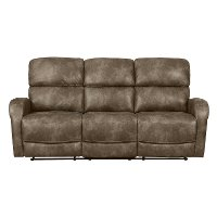 Stone Brown Transitional Reclining Sofa - Sylvie