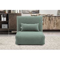 Teal Folding Theater Lounger Chair and Fold Out Bed - Sutton