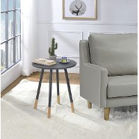 Gray Round Modern Chairside Table - Heidi