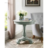 Wooden Gray Round Pedestal Accent Table - Constance
