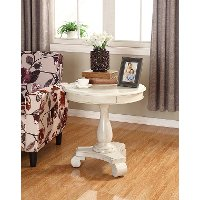 Wooden Ivory Round Accent Table - Constance