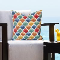 Multi Color Distressed Geometric Indoor-Outdoor Throw Pillow