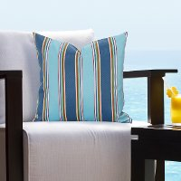 Blue Striped Indoor-Outdoor Throw Pillow