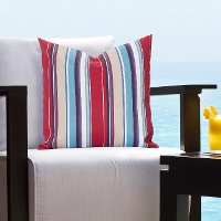 Nautical Stripes in Primary Colors Indoor-Outdoor Throw Pillow
