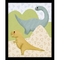Yellow and Blue Dinosaurs Canvas Framed Wall Art