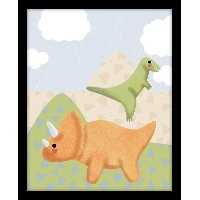 Green and Orange Dinosaurs Canvas Framed Wall Art