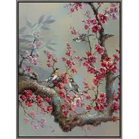 Multi Color Floral Branch and Birds Canvas Framed Wall Art
