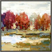 Multi Color Contemporary Landscape Framed Canvas Wall Art