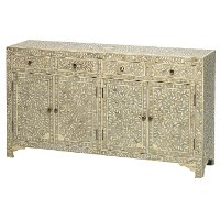 White and Ivory Inlay Dining Sideboard - Stella