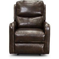 Mahogany Leather-Match Power Recliner with Power Lumbar and Headrest - Chia