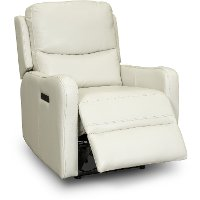 Ice White Leather Match Power Recliner With Power Lumbar