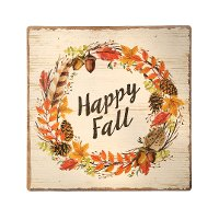 12 Inch Multicolor MDF Happy Fall Painted Sign