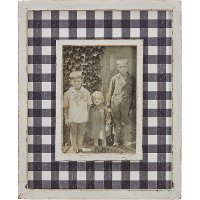 12 Inch Distressed White and Black Checkered Picture Frame