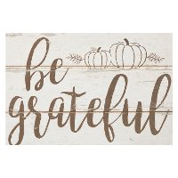 Distressed Cream Be Grateful Wall Decor with Pumpkins