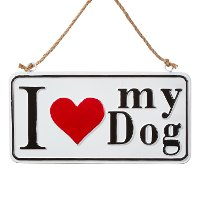 Red, White and Black I Love My Dog Sign Ornament