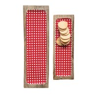 Medium Red Gingham Enameled Mango Wood Tray