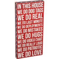 Red, White and Blue Wooden We Do Dog Tags Box Sign