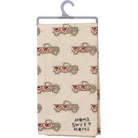 Beige, Red and Blue Truck Home Sweet Home Dish Towel