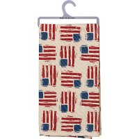 Red, Blue and Beige American Flag Cotton Dish Towel