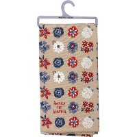 Red, White and Blue Floral America The Beautiful Tan Dish Towel