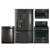 KIT GE 4 Piece Electric Kitchen Package with French Door Refrigerator - Black Stainless Steel