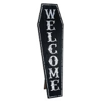 Welcome MDF Coffin Halloween Decor with Kick Out Stand
