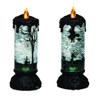 Assorted Slate, Black and Green Glitter Light Up Faux Candle