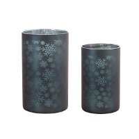 6 Inch Gray Glass with Snowflakes Votive Candle Holder