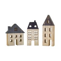 7 Inch Cream and Gray Wooden House