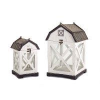 14 Inch White and Gray Wood and Metal Barn Lantern