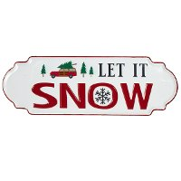 Red and White Let It Snow Iron Wall Decor