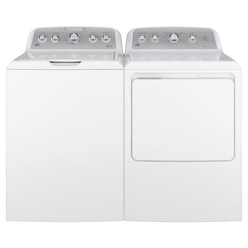 GE Top Load Washer and Electric Dryer with Rear Controls - White
