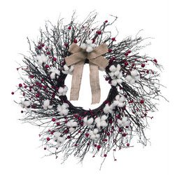 24 inch twig cotton ball and berry wreath arrangement rcwilley image1~800