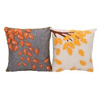 Assorted Multi Color Felt Applique Falling Leaves Throw Pillow