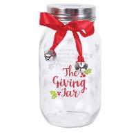 Glass Season of Giving Jar with Ribbon and Bell Accent