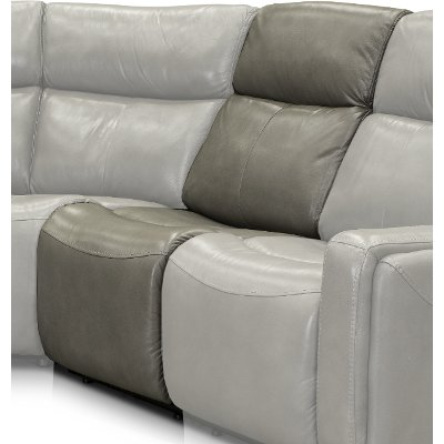 Slate Leather-Match Armless Power Recliner with Power Headrest - Stratus