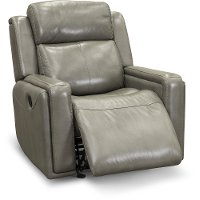 Contemporary Slate Gray Leather-Match Glider Recliner - Stratus