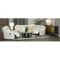 Sensational Ice White Leather Match Power Reclining Sectional Sofa Stratus Cjindustries Chair Design For Home Cjindustriesco