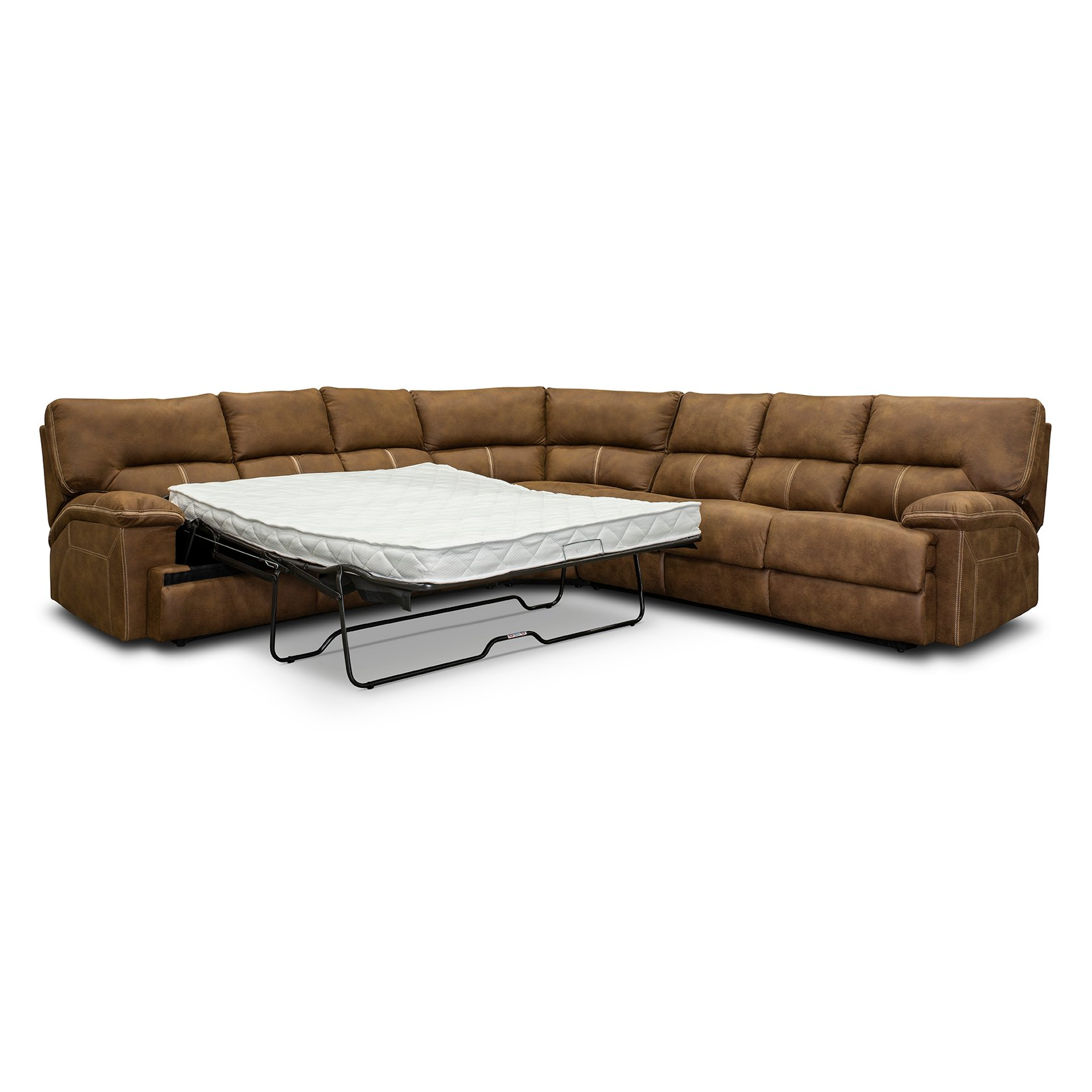 Mocha Brown 3 Piece Double Sofa Bed Sectional Parker Valley