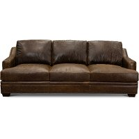 Classic Contemporary Brown Leather Sofa - Antique