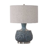 Blue Glaze Table Lamp with Rust Bronze Distressing