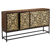 Contemporary Wood and Metal Dining Room Sideboard - Roulette