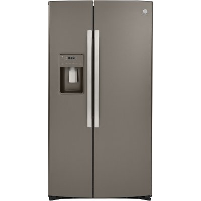 GSS25IMNES GE 25.1 cu. ft. Side by Side Refrigerator - 36 Inch Slate