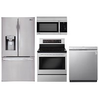 KIT LG 4 Piece Electric Kitchen Appliance Package with French Door Refrigerator - Stainless Steel